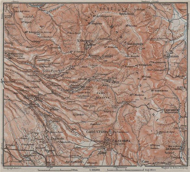 Associate Product SABINA. Palestrina Pisoniano Monte Prenestini topo-map. Italy mappa 1909