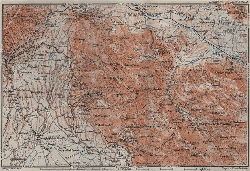 Associate Product VOLSCIAN MOUNTAINS. Velletri Artena Cori Monti Lepini. Topo-map. Italy 1909