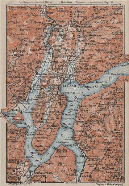 Associate Product LAKE/Lago di LUGANO topo-map. Switzerland Italy Italia carte karte 1909