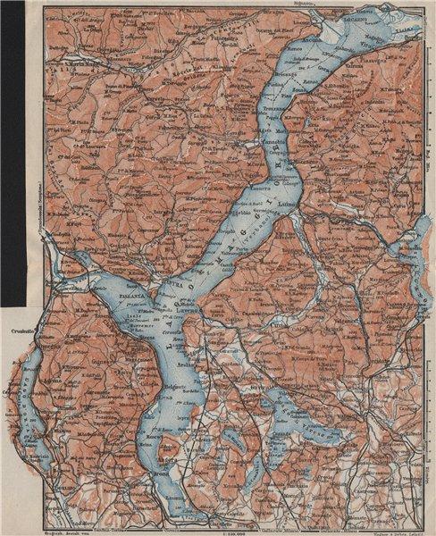 Associate Product LAGO/LAKE MAGGIORE & LAGO/LAKE D'ORTA Varese Pallanza topo-map. Italy 1909