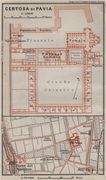 Associate Product CERTOSA DI PAVIA ground plan. Italy. Torre del Mangano mappa. BAEDEKER 1909