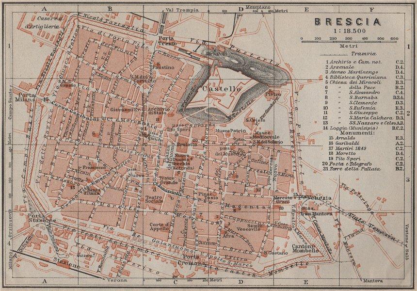 Associate Product BRESCIA antique town city plan piano urbanistico. Italy mappa 1909 old