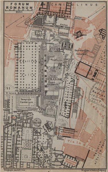 Associate Product FORUM ROMANUM ground plan, Rome. Roman Forum mappa. BAEDEKER 1909 old