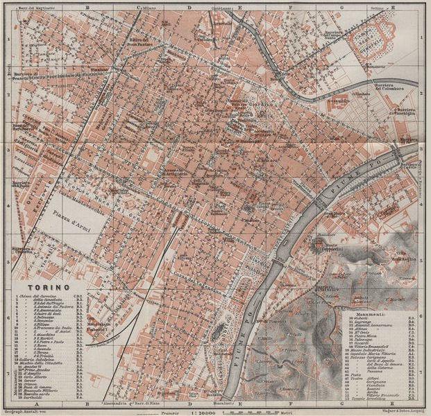 TORINO TURIN antique town city plan piano urbanistico. Italy mappa 1909