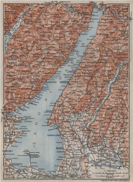 Associate Product LAGO DI/LAKE GUARDA. Riva Salo Gargnano Bardolino. Topo-map. Italy 1909