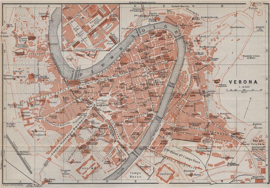 Associate Product VERONA antique town city plan piano urbanistico. Italy mappa. BAEDEKER 1909