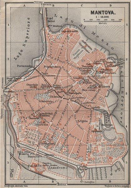 Associate Product MANTOVA (MANTUA) antique town city plan piano urbanistico. Italy mappa 1909