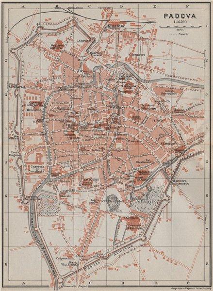 Associate Product PADOVA PADUA antique town city plan piano urbanistico. Italy mappa 1909