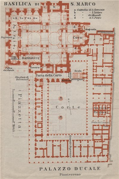 Associate Product St Mark's BASILICA SAN MARCO. PALAZZO DUCALE Doge's palace plan Venice 1909 map