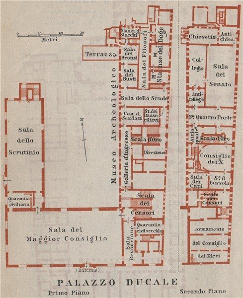Associate Product PALAZZO DUCALE. Doge's palace floor plan. Venice Venezia mappa. SMALL 1909