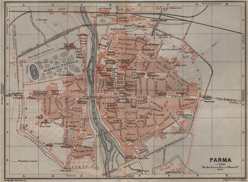 Associate Product PARMA antique town city plan piano urbanistico. Italy mappa. BAEDEKER 1909