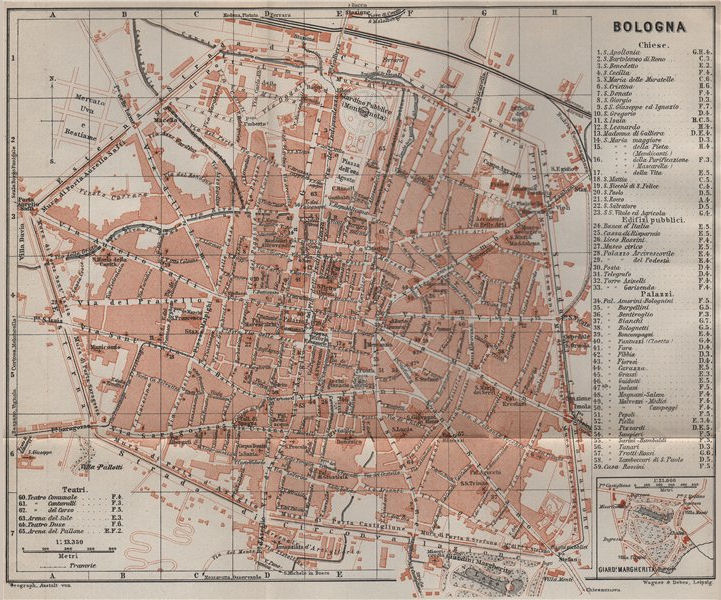 Associate Product BOLOGNA antique town city plan piano urbanistico. Italy mappa 1909 old