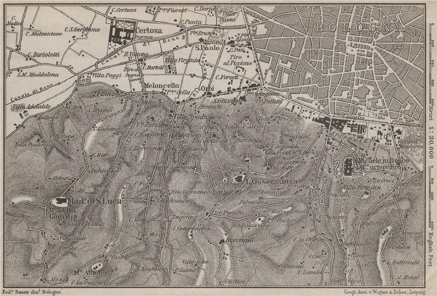 Associate Product BOLOGNA environs. Certosa. Madonna di San Luca. Santo Michele in Bosco 1909 map