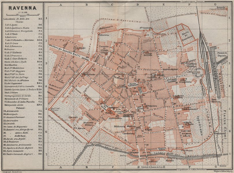Associate Product RAVENNA antique town city plan piano urbanistico. Italy mappa 1909 old