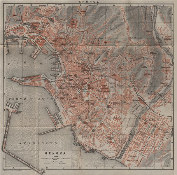 Associate Product GENOVA GENOA town city plan piano urbanistico. Gênes. Italy mappa 1909 old