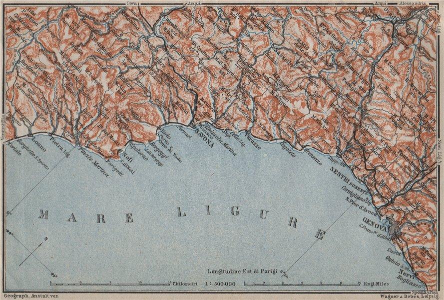 Associate Product RIVIERA DI PONENTE. Genoa Genova-Arenzano-Varazze-Savona-Loana. Italy 1909 map
