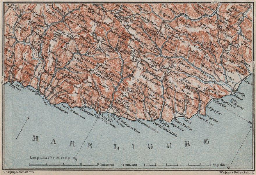 Associate Product RIVIERA DI PONENTE. Menton-Ventimiglia-Sanremo-Imperia-Albenga. Italy 1909 map