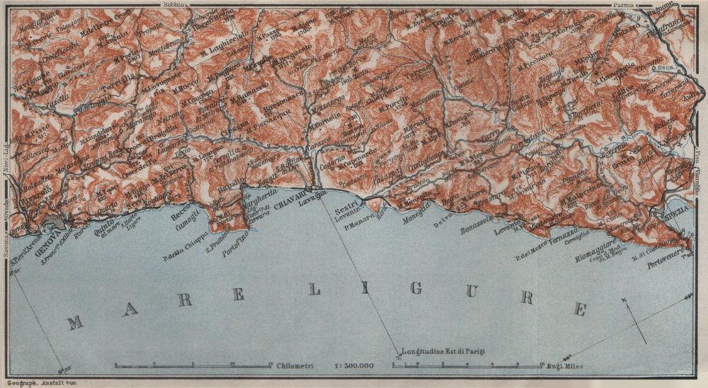 Associate Product RIVIERA DI LEVANTE. Genoa Genova-Portofino-Rapallo-Chiavari-La Spezia 1909 map
