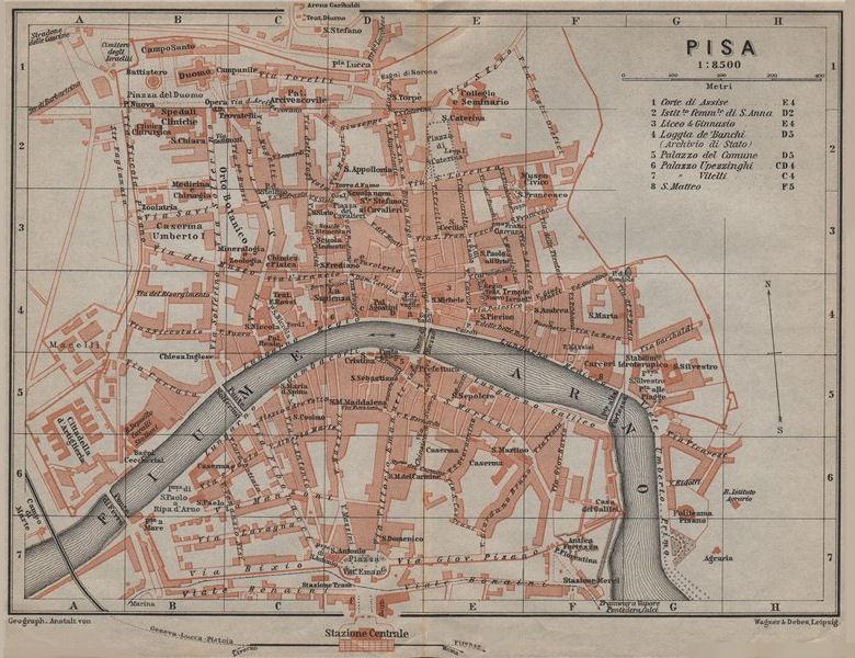 Associate Product PISA antique town city plan piano urbanistico. Italy mappa. BAEDEKER 1909