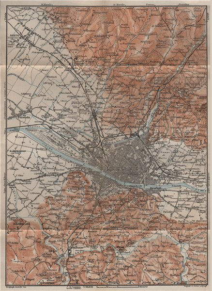 Associate Product FLORENCE FIRENZE environs. Galluzzo Fiesole. Italy mappa. BAEDEKER 1909