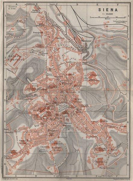 SIENA antique town city plan piano urbanistico. Italy Italia mappa 1909