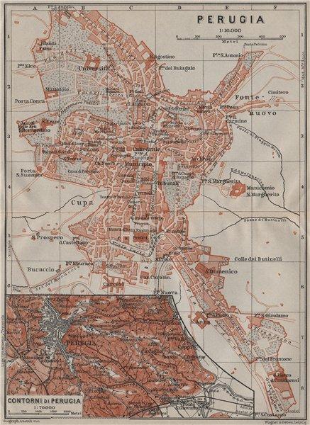 Associate Product PERUGIA antique town city plan & environs/contorni. Italy Italia mappa 1909
