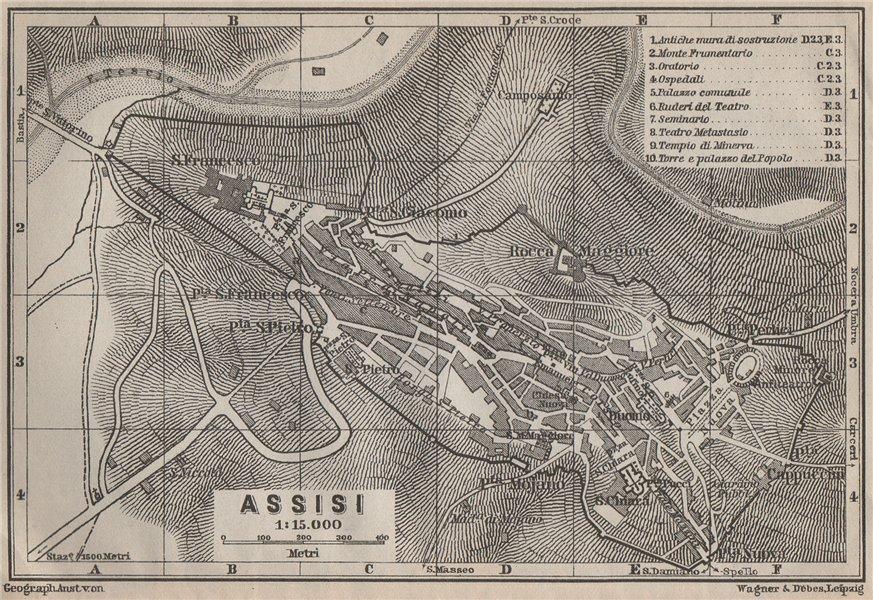 Associate Product ASSISI antique town city plan piano urbanistico. Italy Italia mappa 1909