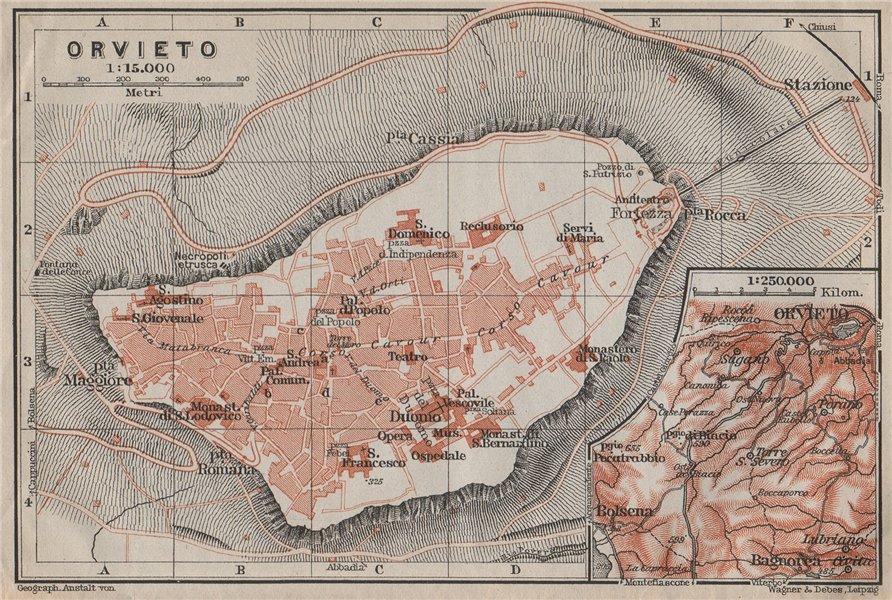 Associate Product ORVIETO antique town city plan piano urbanistico. Italy Italia mappa 1909