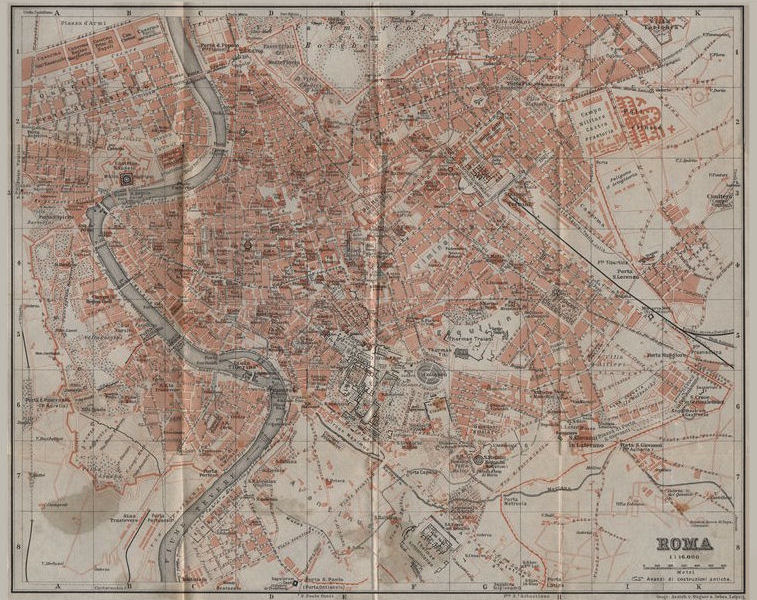 Associate Product ROMA ROME antique town city plan piano urbanistico. Italy mappa 1909 old