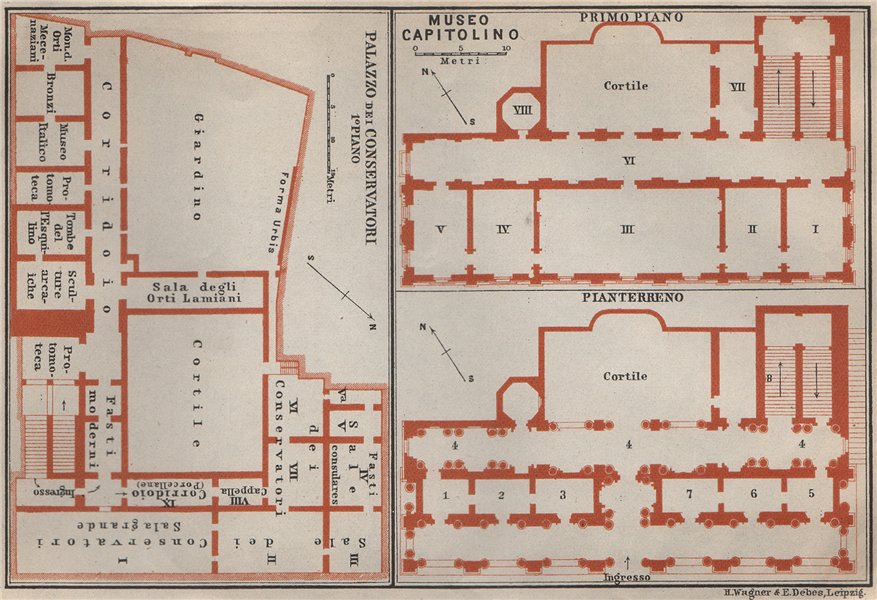 Associate Product CAPITOLINE MUSEUM PALAZZO DEI CONSERVATORI MUSEO CAPITOLINO plan. Rome 1909 map
