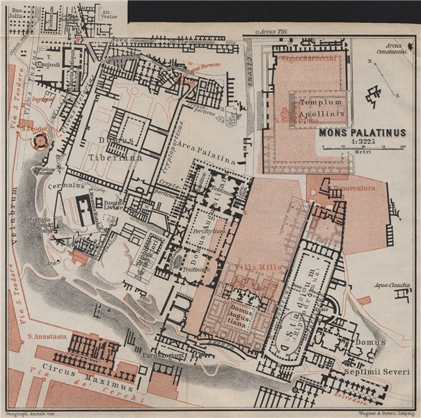 Associate Product THE PALATINE HILL. MONS PALATINUS ground plan. Rome Roma mappa 1909 old