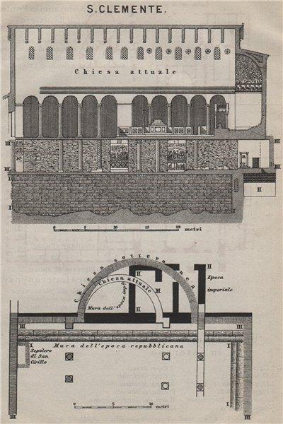 Associate Product Basilica di SAN CLEMENTE al Laterano. Saint Clement. Rome Roma mappa 1909