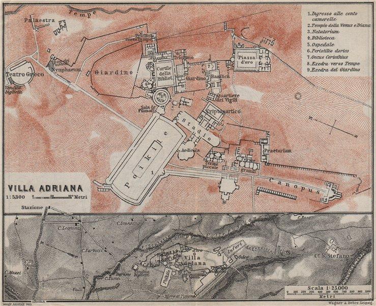 Associate Product HADRIAN'S VILLA at TIVOLI. VILLA ADRIANA ground plan. Italy Italia 1909 map