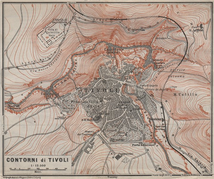 Associate Product TIVOLI & environs. Contorni di Tivoli. Italy Italia mappa. BAEDEKER 1909