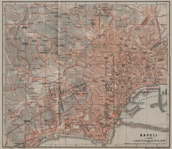 Associate Product NAPOLI NAPLES antique town city plan piano urbanistico. Italy mappa 1909