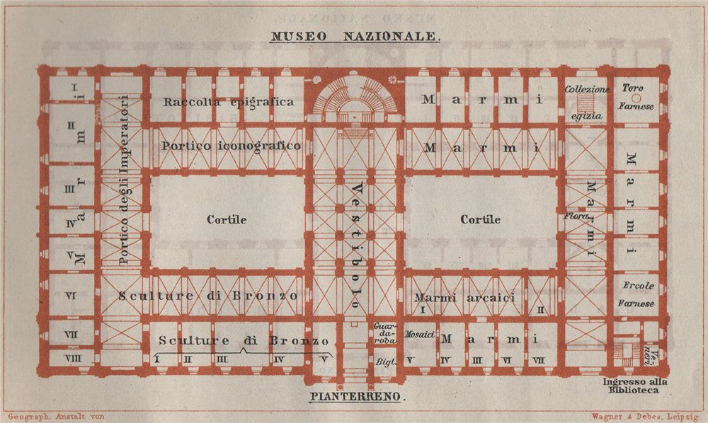 Associate Product MUSEO NAZIONALE ROMANO PIANTERRENO ground floor plan. Rome mappa. SMALL 1909