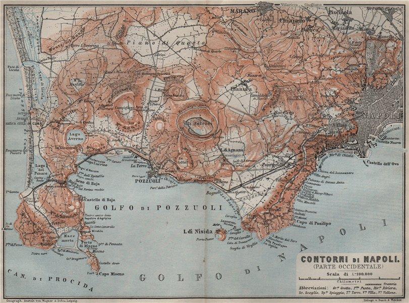 Associate Product Contorni di NAPOLI. NAPLES western environs. Golfo di Pozzuoli. Italy 1909 map