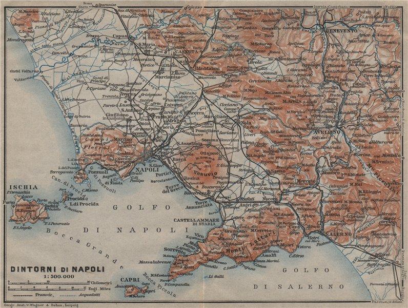 Golfo di/DINTORNI DI NAPOLI. Bay of Naples & environs. Campania mappa 1909