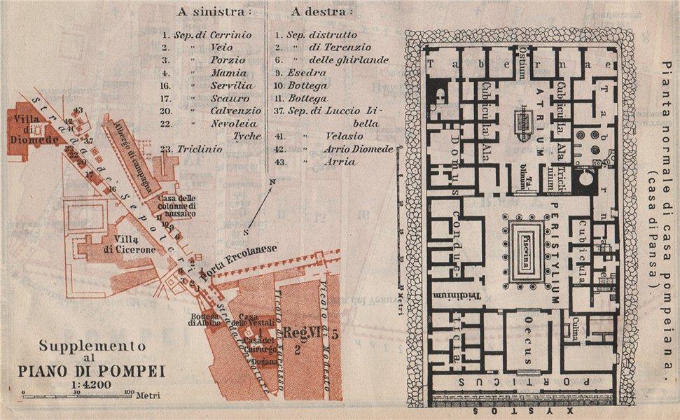Associate Product POMPEII. Strada dei Sepolcri. Pompeian house. Casa di Pansa floor plan 1909 map