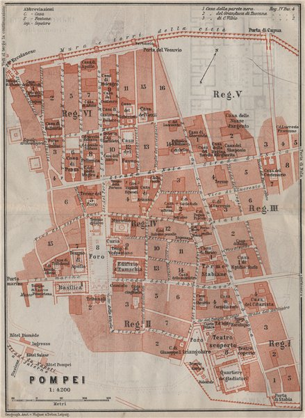 Associate Product POMPEII antique town city plan piano urbanistico (1). Italy mappa 1909 old
