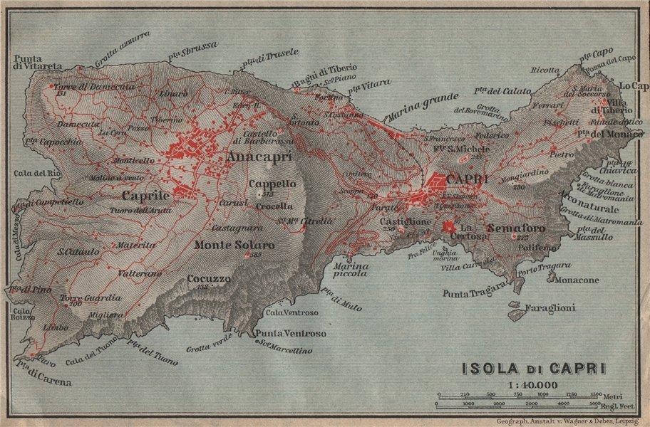 Associate Product ISOLA DI CAPRI topo-map. Anacapri. Italy mappa. BAEDEKER 1909 old antique