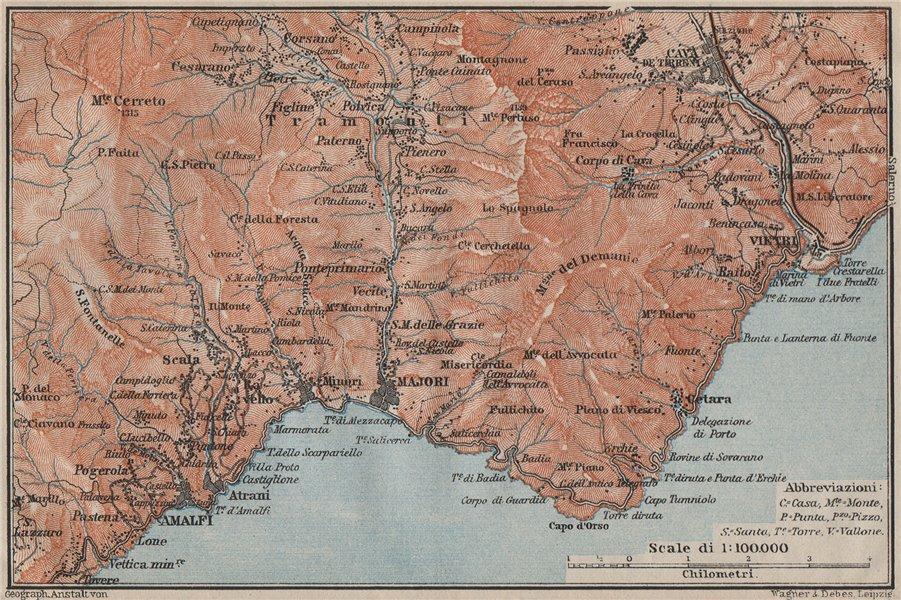 Associate Product AMALFI COAST Maiori Minori Vietri Cava de'Tirreni Costiera Amalfitana 1909 map