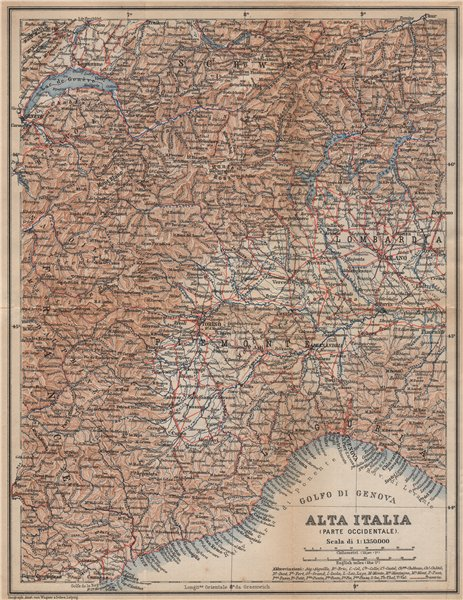 Associate Product ALTA ITALIA (PARTE OCCIDENTALE). North-west Italy mappa. BAEDEKER 1895 old