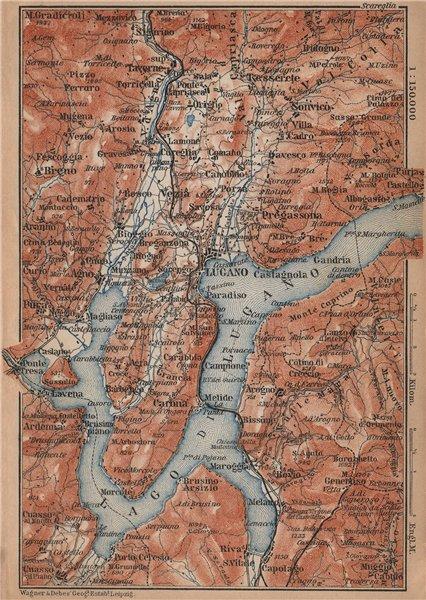 Associate Product LAKE/Lago di LUGANO topo-map. Switzerland Italy Italia carte karte 1895