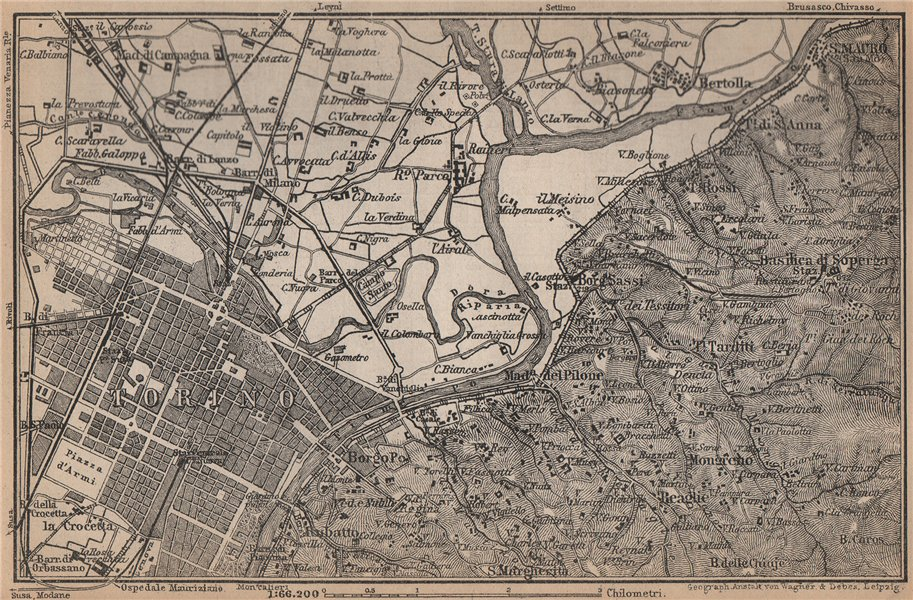Associate Product TURIN TORINO eastern environs. Italy mappa. BAEDEKER 1895 old antique