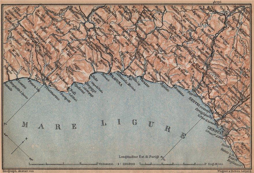 Associate Product RIVIERA DI PONENTE. Genoa Genova-Arenzano-Varazze-Savona-Loana. Italy 1895 map