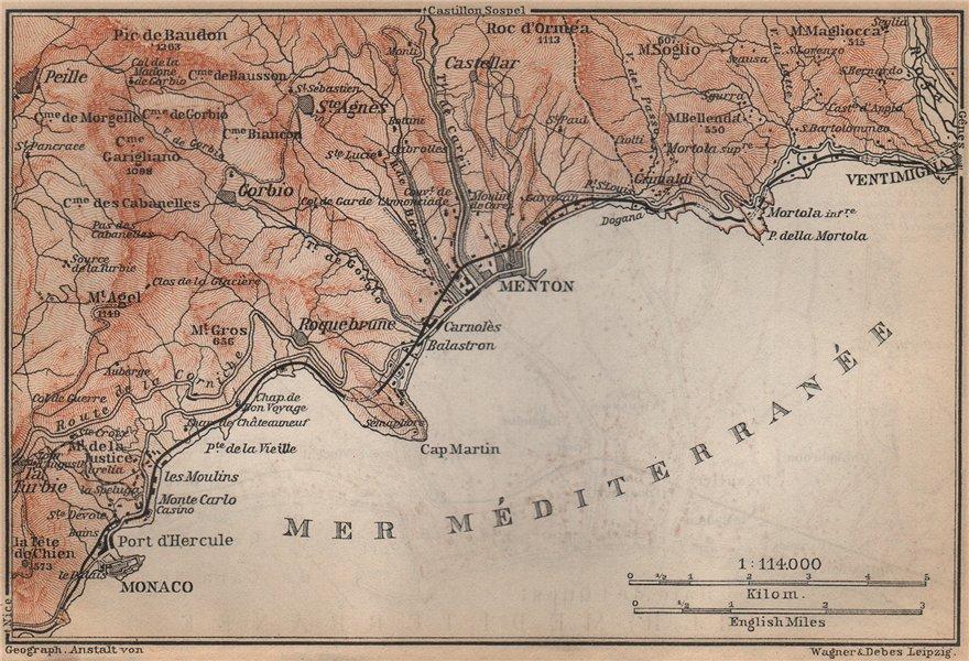 Associate Product RIVIERA Côte d'Azur. Monaco menton Ventimiglia. Italy Alpes-Maritimes 1895 map