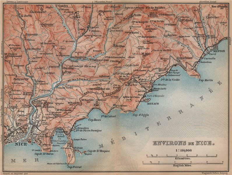 Associate Product NICE environs. Menton Monaco St-Jean-Cap-Ferrat Villefranche Beaulieu 1895 map