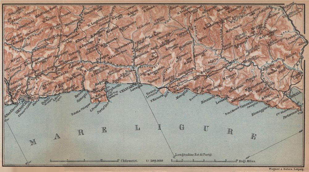 Associate Product RIVIERA DI LEVANTE. Genoa Genova-Portofino-Rapallo-Chiavari-La Spezia 1895 map