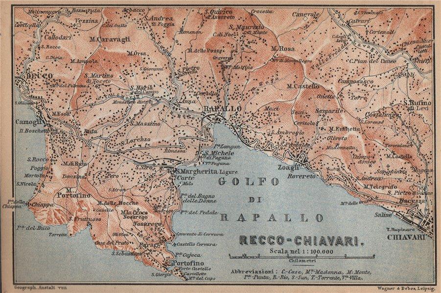 Associate Product GOLFO DI RAPALLO Portofino Camogli Chiavari S. Margherita Ligure Italy 1895 map
